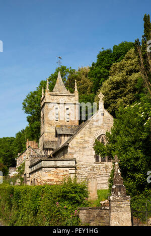 UK, Cornwall, Little Petherick, C14th parish church of St Petroc - Stock Image