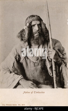 Mali - Timbuktu - A fine portrait of a hirsute local man with bamboo staff and steely gaze... - Stock Image