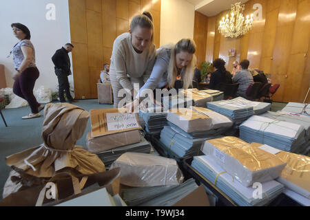 Ostrava, Czech Republic. 21st May, 2019. Ongoing preparations prior to the 2019 European Parliament election in the Czech Republic are seen on May 21, 2019, in Ostrava, Czech Republic. Credit: Jaroslav Ozana/CTK Photo/Alamy Live News - Stock Image