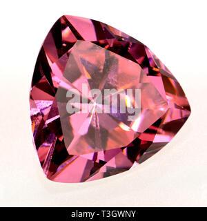 Trillion-cut Pink Sapphire (lab-created) - Stock Image