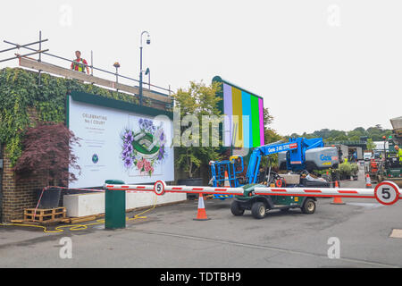 Wimbledon London, UK. 19th June, 2019. Preparations at the (AELTC) All England Lawn Tennis Club for the 2019 Wimbledon Championships Credit: amer ghazzal/Alamy Live News - Stock Image