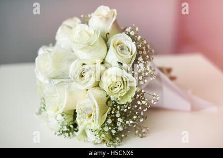 Beautiful wedding bouquet, white roses - Stock Image