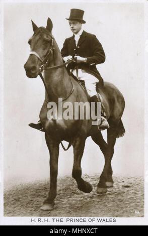 Prince of Wales, later King Edward VIII, on horseback.      Date: 1920s - Stock Image