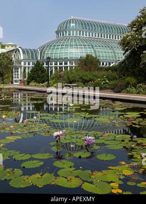 Brooklyn New York Botanical Gardens lily pond, USA - Stock Image