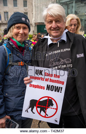 London, UK. 13th April 2019. A protest march is taking place in London demonstrating against the threat of extinction of wildlife and highlighting the act of trophy hunting in particular of elephants and rhinos. It is part of the 5th global march for elephants and rhinos and is timed to take place before a conference in Sri Lanka calling to uplist elephants to Appendix I (highest level of protection) and to reject proposals to allow the ivory trade of the Southern White Rhino. Protesters gathered in Cavendish Square and marched to Whitehall. Stanley Johnson. Credit: Avpics / Alamy Live News - Stock Image