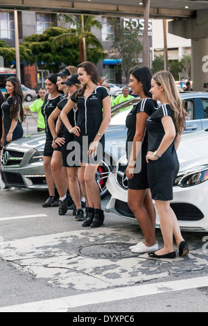 Mercedes Benz models with pace cars at the 2014 Mercedes-Benz Corporate Run in Miami, Florida, USA. - Stock Image