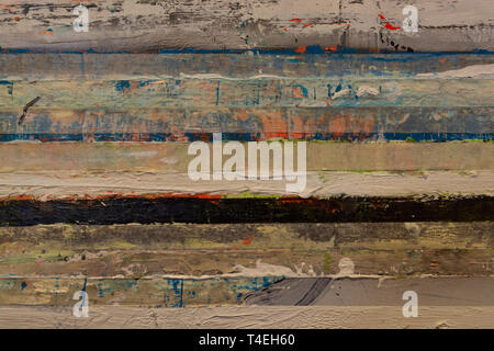 Oil paint horizontal strips background copy space - Stock Image