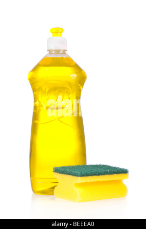 Liquid detergent bottle and scouring pad for dish washing isolated on white background - Stock Image