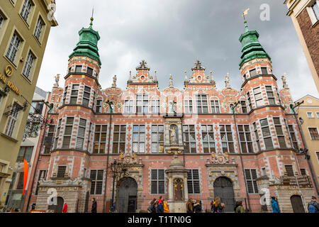 The Great Armoury at end of Piwner Street, Gdansk, Poland - Stock Image