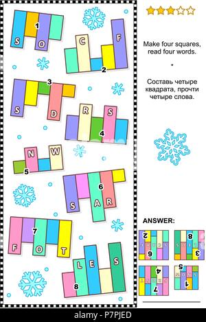 Winter themed IQ training abstract visual word puzzle (English language): Make four squares, read four words. Answer included. - Stock Image