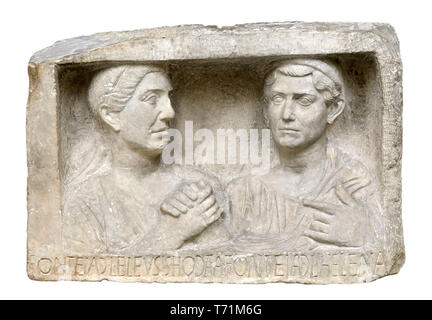 British Museum, Bloomsbury, London, England, UK. 'Freedmen portraits' - stone reliefs, once part of a tomb, of former Roman slaves who had bought or e - Stock Image
