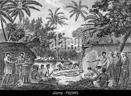 While at Tahiti he and his companions watch a human sacrifice       Date: 1769 - Stock Image