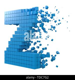 letter Z shaped data block. version with blue cubes. 3d pixel style vector illustration. suitable for blockchain, technology, computer and abstract th - Stock Image