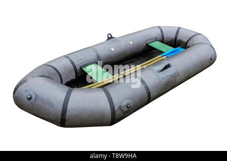 Fishing inflatable boat closeup isolated on white background - Stock Image