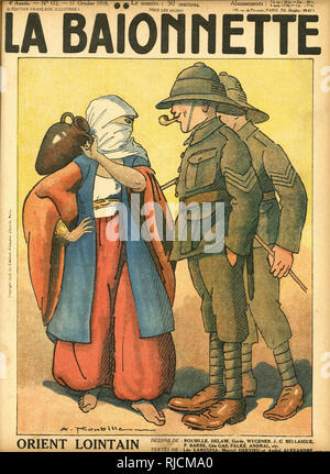 Front cover design for La Baionnette, The Middle East. Two British soldiers in khaki uniform meet a native woman carrying a water jag. - Stock Image