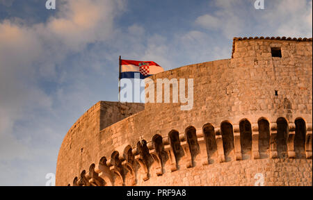 Minceta Tower which forms the highest part of Dubrovnik city walls - Stock Image
