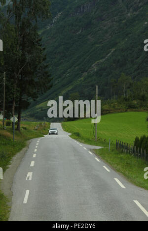 Olden, Norway - 8 August 2018: General view of the village of Olden at the end of the Nordfjord on 8 August 2018. The village of about 500 inhibitions engage in agriculture, fruit growing and manufacture for tourism. Photo: David Mbiyu - Stock Image
