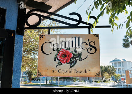 Outside exterior advertising sign for Camille's restaurant and bar at Crystal Beach in Destin Florida, USA. - Stock Image