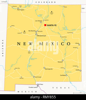 New Mexico, political map, with capital Santa Fe, borders, important cities, rivers and lakes. State in the Southwestern region of United States. - Stock Image