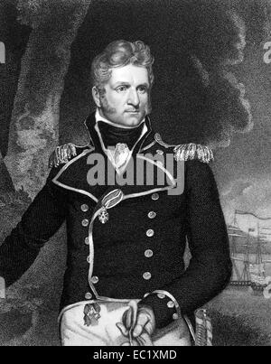 Thomas Macdonough (1783-1825) on engraving from 1834. American naval officer. - Stock Image