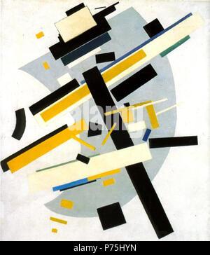 . Suprematism. (Supremus #58. Yellow and Black)  1916 151 Kazimir Malevich - Supremus 58 - Stock Image