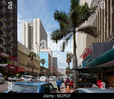 Elevation of busy Dr Pixley Kaseme Street. Pioneer Place, Durban, South Africa. Architect: designworkshop : sa, - Stock Image