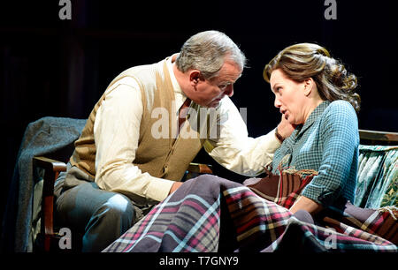 Hugh Bonneville playing C.S. Lewis and Liz White as Joy Gresham in Shadowlands by William Nicholson at Chichester Festival Theatre, West Sussex, UK. - Stock Image