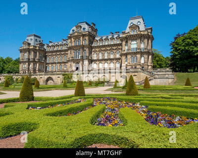 The front aspect of the Bowes Museum and formal garden Barnard Castle Co Durham England UK in Spring - Stock Image
