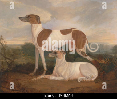 Charles Hancock   Two Greyhounds in a Landscape   Google Art Project - Stock Image