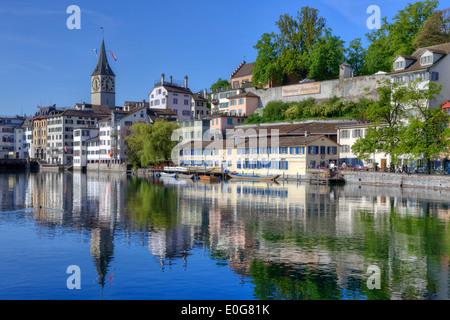 Zurich, St. Peter, church, Schipfe, Limmat, Switzerland - Stock Image