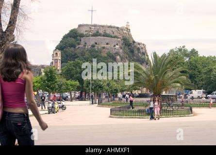 Spianada and Old Fortress, Kerkyra, Corfu, Greece, Europe, person people man woman child costume walk walking stroll strolling - Stock Image