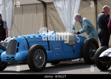 blue classic racing car at Silverstone - Stock Image