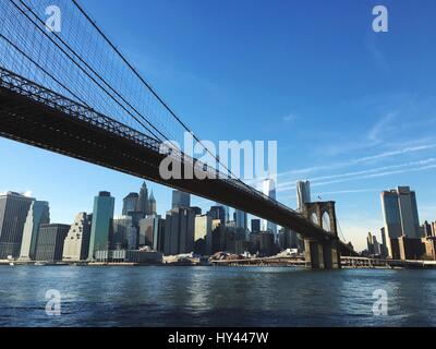 Low Angle View Of Suspension Bridge - Stock Image