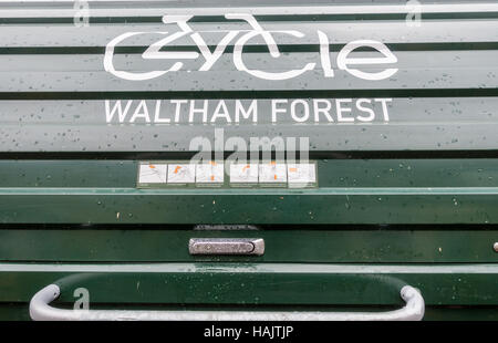 A bike hangar, on street secure storage rental scheme for bicycles in Waltham Forest, London - Stock Image