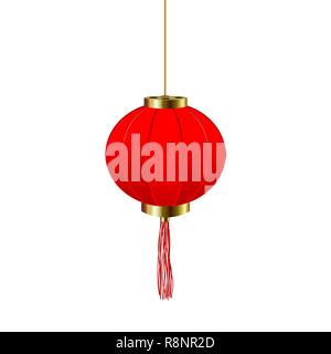 Chinese New Year. Red round chinese lantern. Isolated illustration - Stock Image