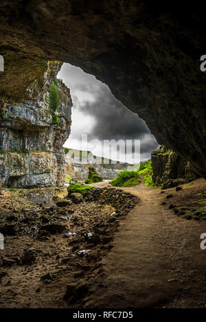 Entrance Of The Smoo Cave Near Durness In Scotland - Stock Image
