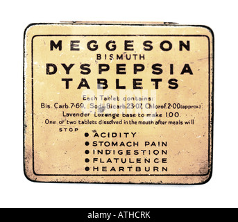 Old Tin Box of Meggeson Bismuth Dypepsia Tablets FOR EDITORIAL USE ONLY - Stock Image