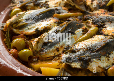 Traditional  Moroccan Tagine with stuffed sardines and vegetables closeup - Stock Image