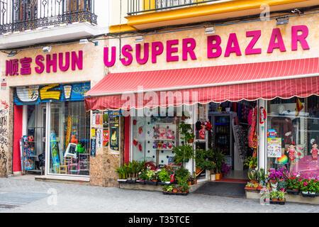 Shun U Super Bazar, a China Store on Calle Feria in Seville - Stock Image
