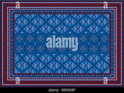 Luxury vintage oriental carpet with red, blue, and bluish shades on black background - Stock Image