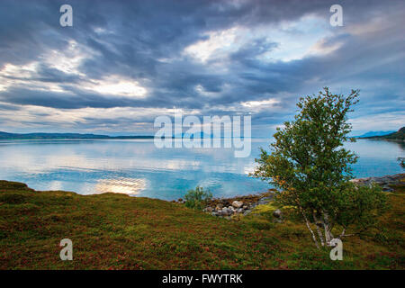 Clouds are reflected in a fjord on Andøya, an island belonging to the Vesterålen archipelago. - Stock Image