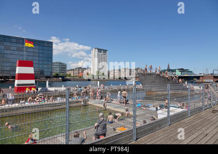 Islands Brygge Harbour Bath Copenhagen, Denmark, on a sunny afternoon. - Stock Image