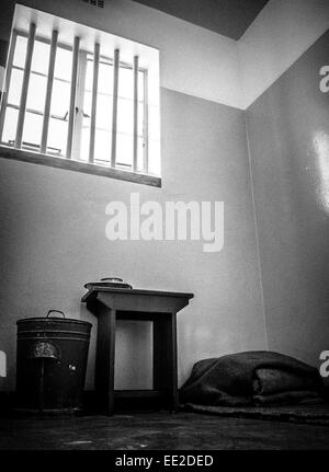 The cell in the maximum security prison complex on Robben Island, Cape Town, South Africa where Nelson Mandela was - Stock Image