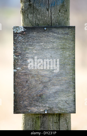 Picture of a old wooden sign nailed to a pole - Stock Image