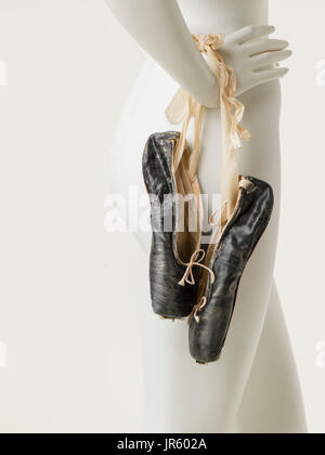 Black Pointe Shoes - Stock Image