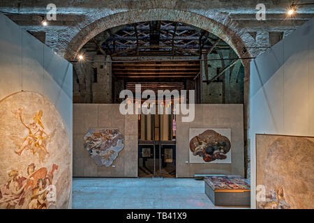 Italy Emilia Romagna Parma Museum Pole of the Pilotta -back of the Farnese theater - Modern Hall  with frescoes from different disused churches - Stock Image