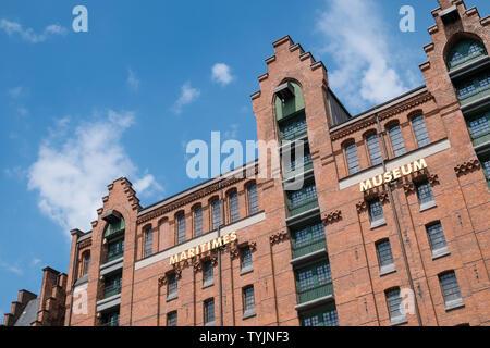 International Maritime Museum exterior, historic Warehouse District, Speicherstadt, Hamburg, Germany - Stock Image