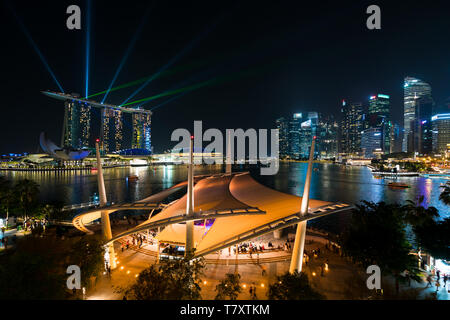 Singapore Marina bay at night, Singapore city with light show is famous and beautiful show. - Stock Image