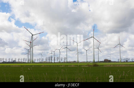 small wind Park - Wind Wheels - renewable energie - Stock Image