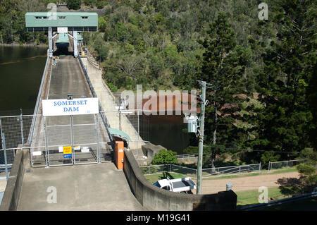 Top of the wall of Somerset Dam, Queensland, Australia - Stock Image